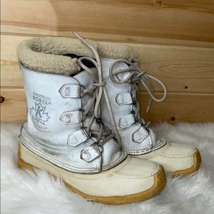 Sorel Chugalug White Cream Winter Boots Vintage
